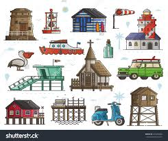 surf car clipart travel seaside town constructor with typical sea coast and fishing