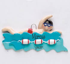 swimming my personalized ornaments