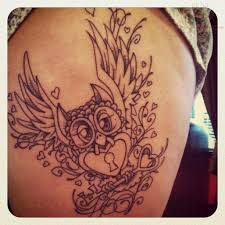 owl with locked heart and key tattoo design in 2017 real photo