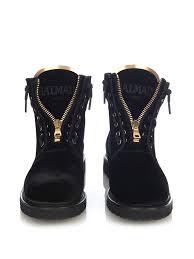 biker type boots balmain taiga velvet biker boots in black lyst