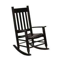 shop garden treasures black wood slat seat outdoor rocking chair