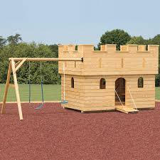 backyard playground handcrafted castle in solid wood wooden swing