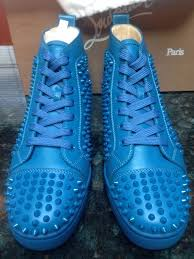 mens christian louboutin louis spikes ocean calf leather sneakers
