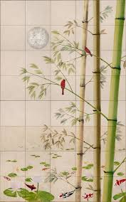 tropical birds painting on tile murals thomas deir honolulu hi asian bamboo wall tile mural