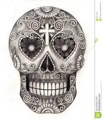 skull day of the dead stock illustration illustration