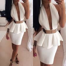 dress white dress v neck dress shoes belt pelplum dress