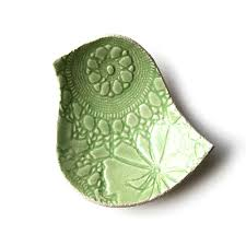 pottery bowl lacy bird key lime green stoneware ceramic vintage