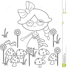 in the garden coloring page stock illustration image 55195690