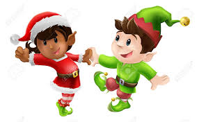 christmas elves two happy christmas elves enjoying a christmas in santa