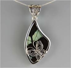 butterfly wing necklace images Light green and black butterfly wing pendant with filigree silver jpg