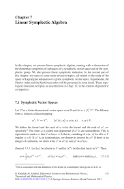 linear symplectic algebra springer