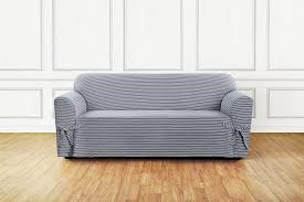 Sofa Slipcover Pattern by Amazon Com Sure Fit Horizontal Club Stripe 1 Piece Sofa
