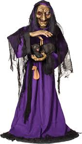 life size animated scary witch black cat haunted house halloween