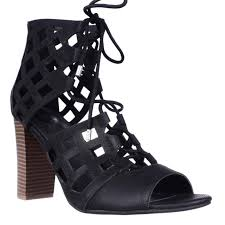 by guess iniko lace up caged sandals black