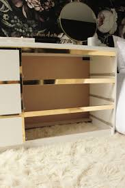 Contact Paper Desk Makeover Malm Vintage Style Gold Dresser Ikea Hackers Ikea Hackers