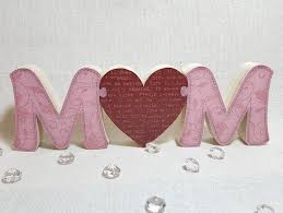 wood block puzzle mum letters freestanding wooden mom with