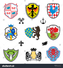 color collection heraldry emblemnine various colorful stock vector