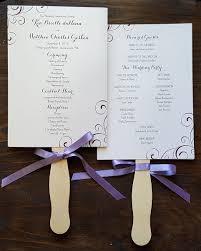 fan style wedding programs fan style wedding programs in purple with swirl design and