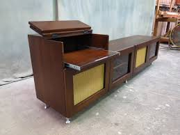 Stereo Cabinets With Glass Doors Furniture Brown Wooden Vintage Console Stereo Cabinet With Door