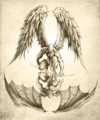drawn devil angel pencil and in color drawn devil angel