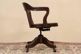sold swivel u0026 tilting oak 1915 antique office desk chair harp