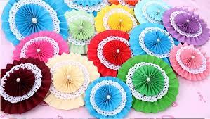 paper fan circle decorations new 15cm 3pcs 4 colors tissue paper fan decorative flowers for