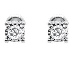 diamond ear studs 10k white gold mens womens illusion bezel set diamond