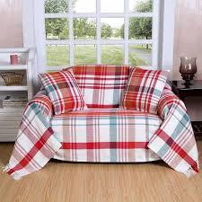 plaid jeté de canapé plaid ou jeté de canapé falun à carreaux rouges en coton 150 x