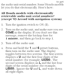 honda accord 2005 radio code radio code tried everything aaarrgghh honda element owners