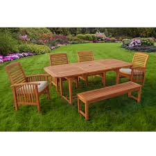 Wood Patio Dining Table by Walker Edison 6 Piece Acacia Wood Patio Dining Set With Cushions