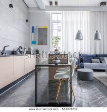 apartment livingroom modern apartment living room open kitchen stock photo 552165496