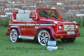 jeep mercedes red remote power wheels mercedes g55 real rubber tires leather seat