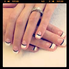 gel polish manicure with french and black line design yelp