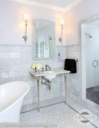 Chair Rail Ideas For Bathroom - 6x12 marble tile wainscotting framed wiht marble chair rail tile