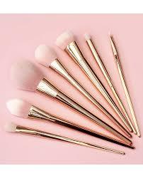 7 piece metallic handle brush set rose gold makeup u0026 brushes