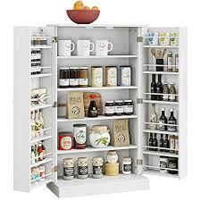 homcom 71 wood kitchen pantry storage cabinet home bi kitchen pantry cabinet storage cabinet with 5 shelves storage organizer for kitchenware cupboard space saving cabinet white