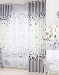 Grey And White Curtains Cotton White And Gray Curtain With Polka Dot Pattern