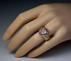 Monogram Gold Ring Vintage Amethyst Monogrammed Mens Ring Antique Jewelry Vintage