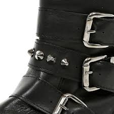 buckle biker boots river island black studded buckle biker boots in black lyst