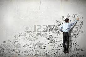 back view of businessman drawing sketch on wall stock photo