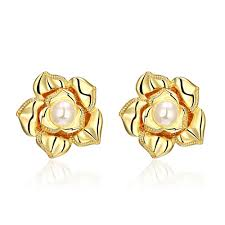 gold earrings for women images wholesale 24k gold plated plant pearl clip earrings for