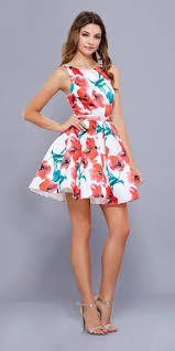 red floral print a line homecoming short dress open back