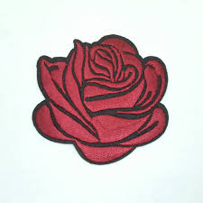 1 dark red rose tattoo embroidered applique patches iron on or