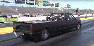 nissan frontier quarter mile stretched chevy s10 truck has a twin turbo big block in its bed