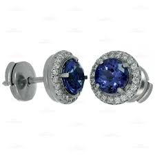 tanzanite stud earrings and co seleste tanzanite diamond platinum stud earrings