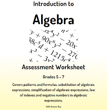 introduction to algebra assessment worksheet