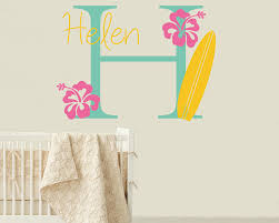 wall decals premium vinyl wall art stickers for home business surfboard wall decal with initial name personalized hawaiian wall decal