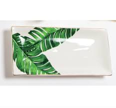 monogramed tray palm leaf trinket tray the monogrammed home