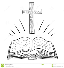 christian bible and cross drawing stock image image 22293081