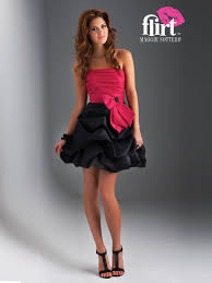 mini ball gown strapless red and black silky taffeta bow tie front